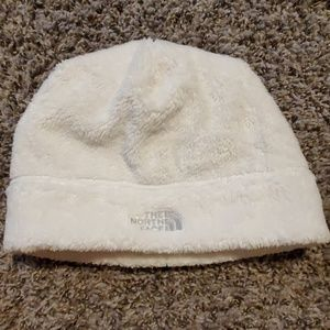 The North Face white beanie hat